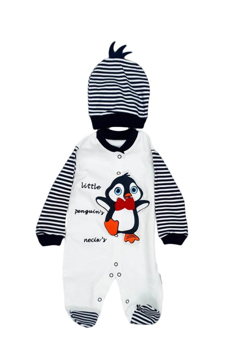 Compleu Pinguin, doua piese, alb-bleumarin