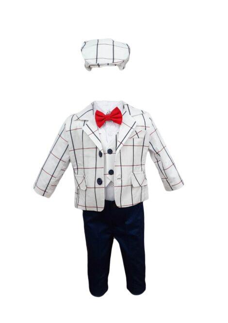 Costum botez, model Baby Boss, culoare alb-bleumarin