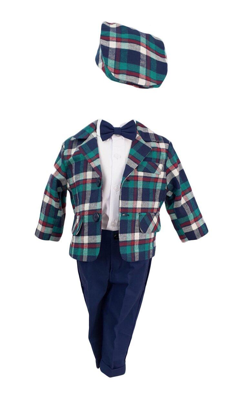 Costum botez Baby Boss carouri bleumarin-verzi