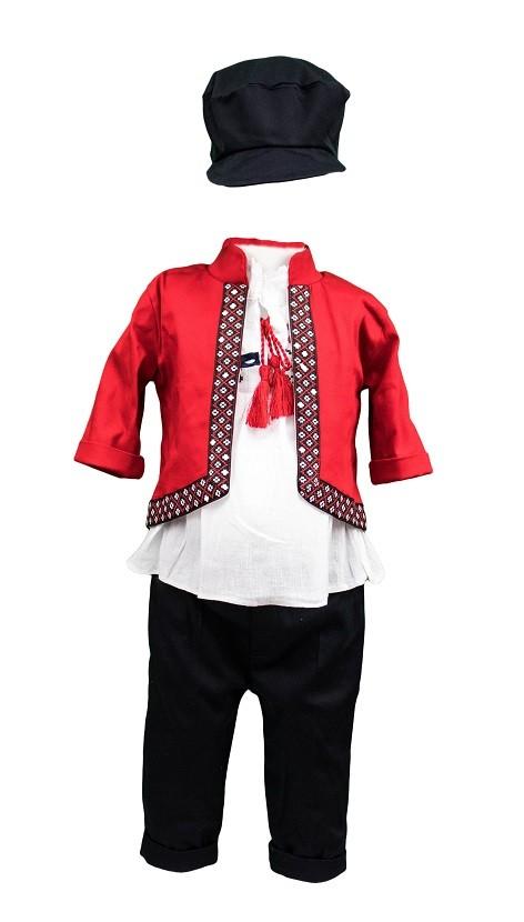 Costum botez motive traditionale Catalin, culoare rosu-bleumarin