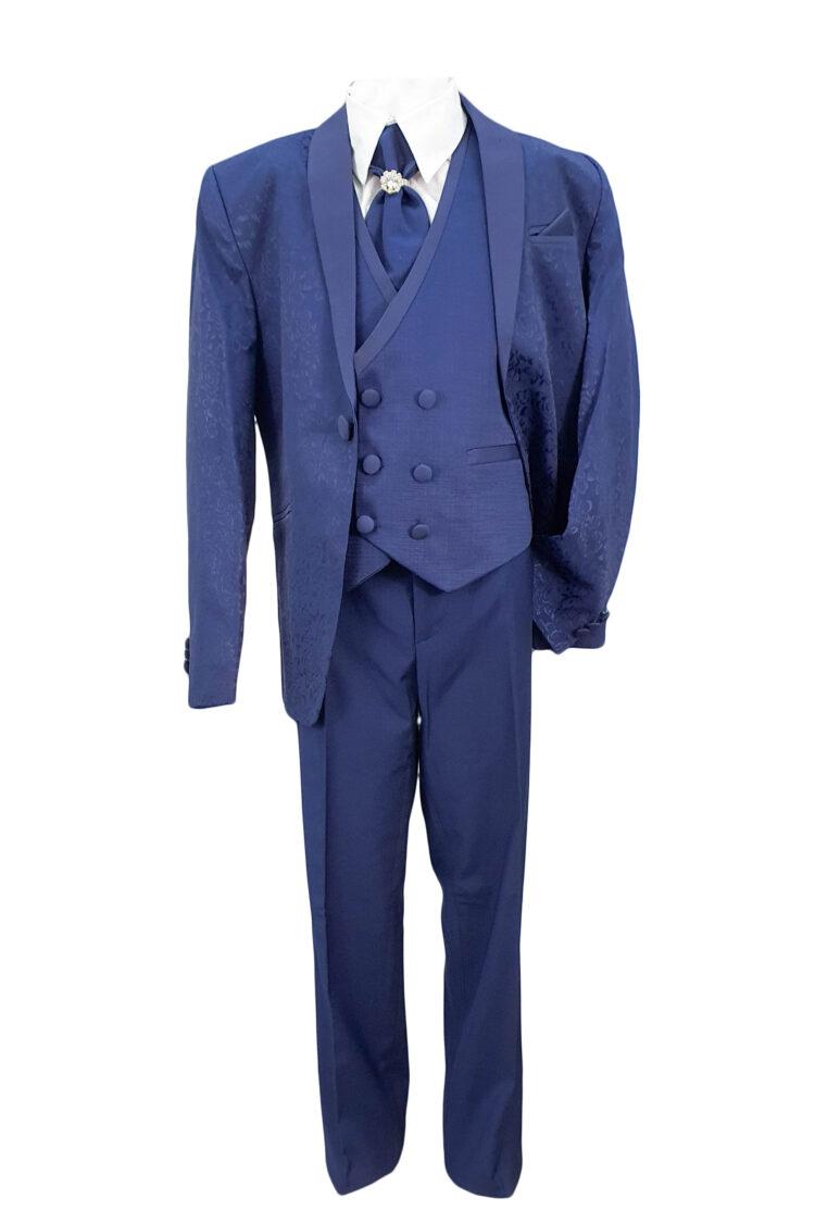 Costum elegant, trei piese, culoare albastra