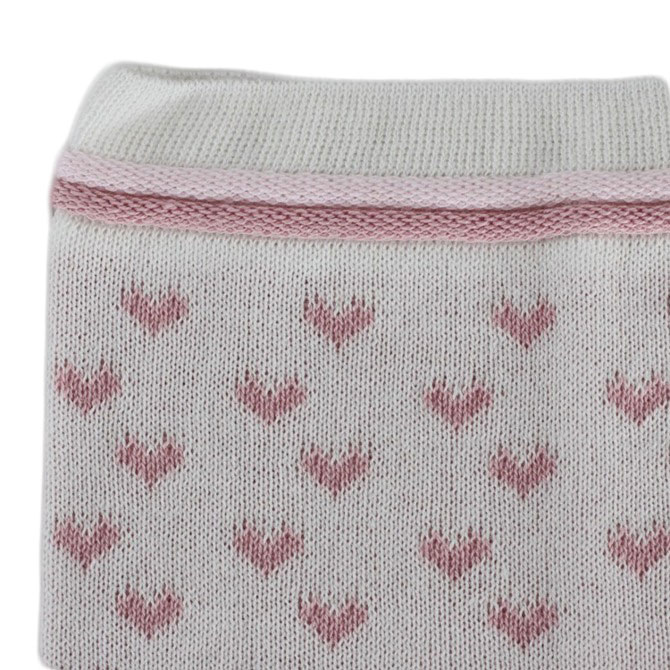 Set doua piese copii, caciula-fular, alb-roz, 46-48 cm