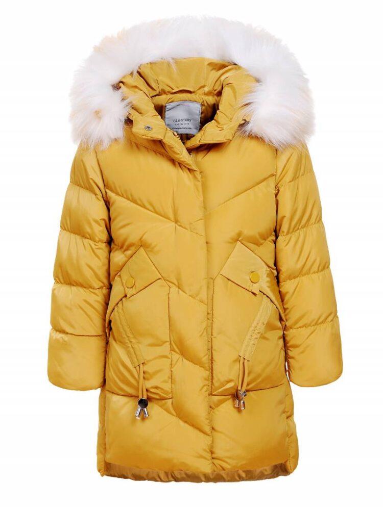 Geaca fete, de iarna, culoare galben-mustar