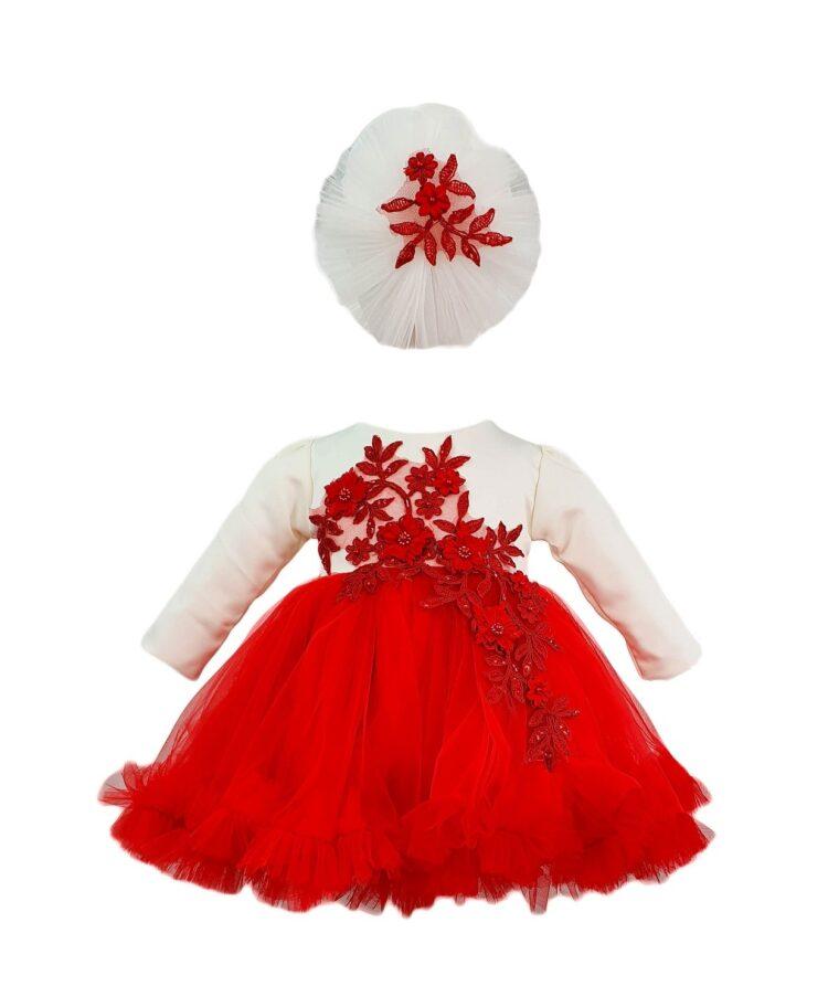 Rochie botez cu bentita asortata de culoare alb-rosu