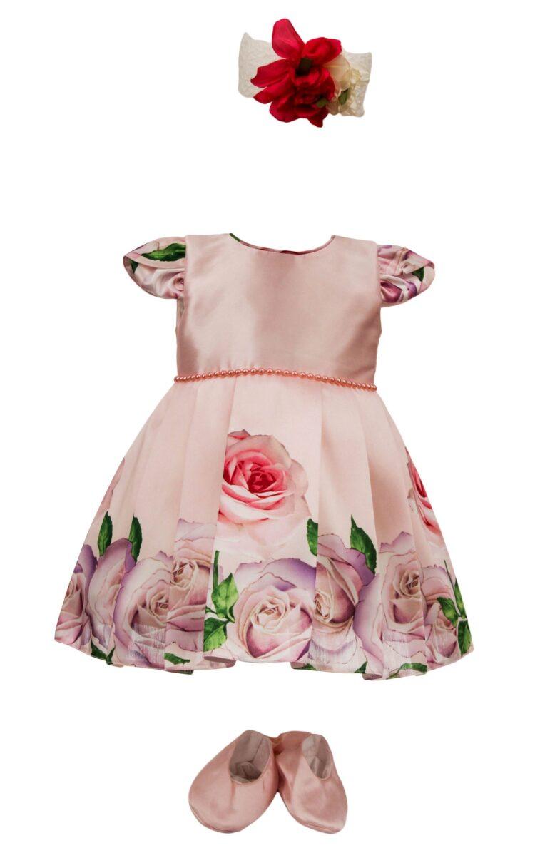 Rochie botez, model Flori Roz, culoare roz