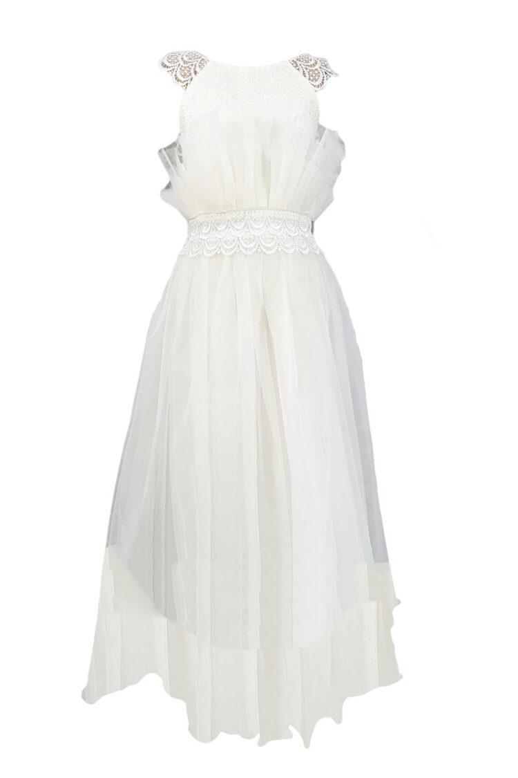 Rochie eleganta cu maneca lunga, model Flori, culoare alba