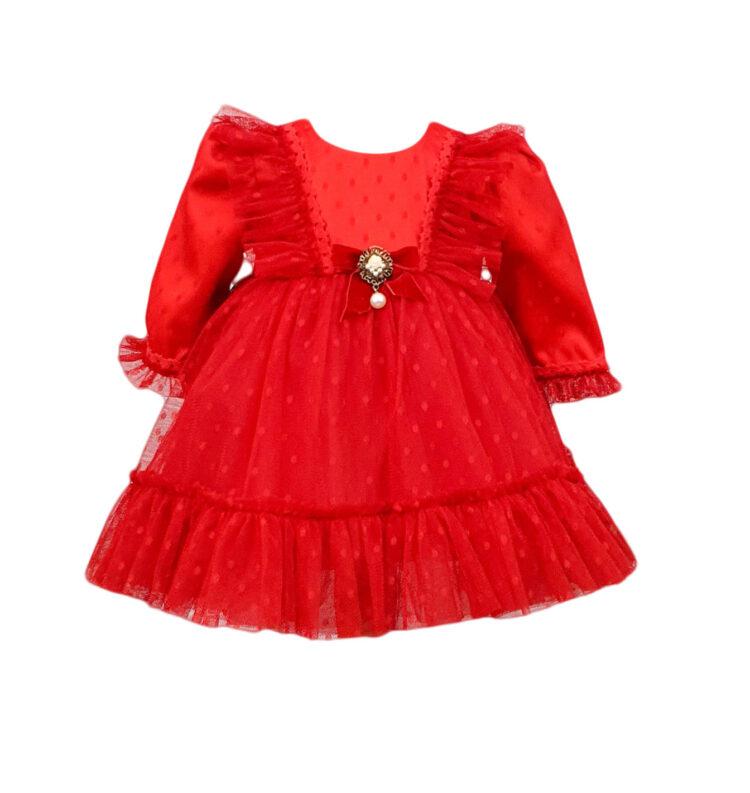 Rochie botez Tiela culoare rosie