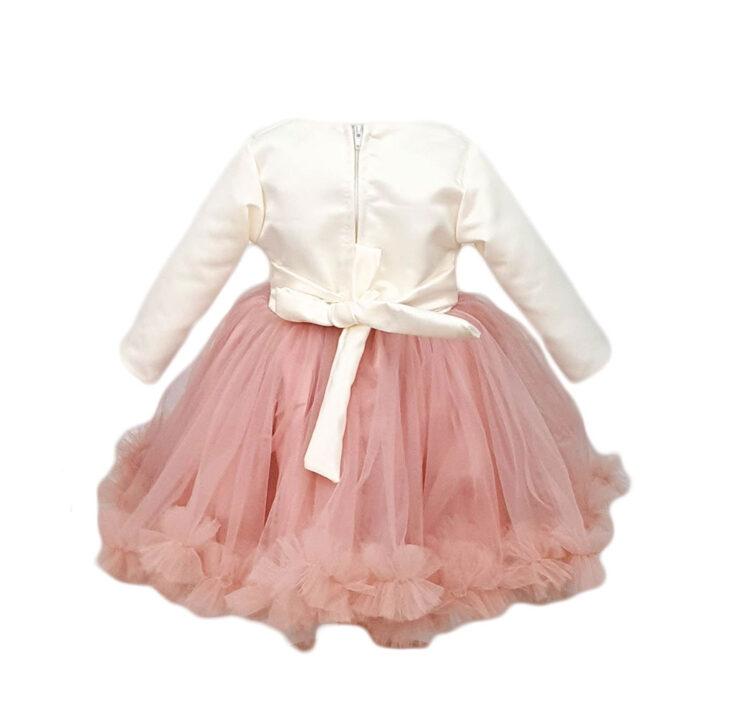 Rochie botez, model Flori, culoare alb-roz