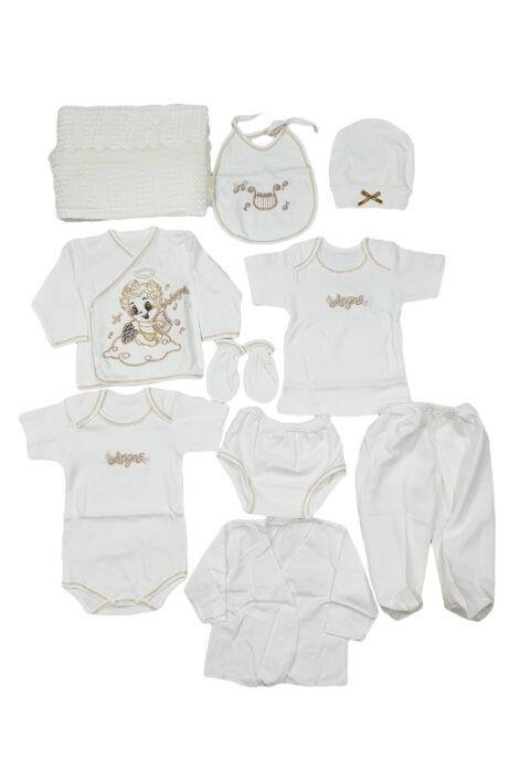 Set zece piese albe, pentru nou nascuti din bumbac
