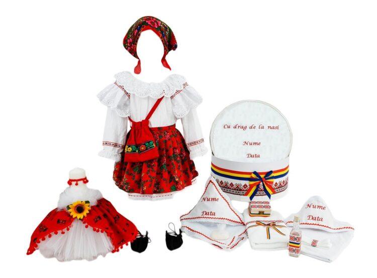Set botez personalizat Mariuca, trei piese rosii traditionale
