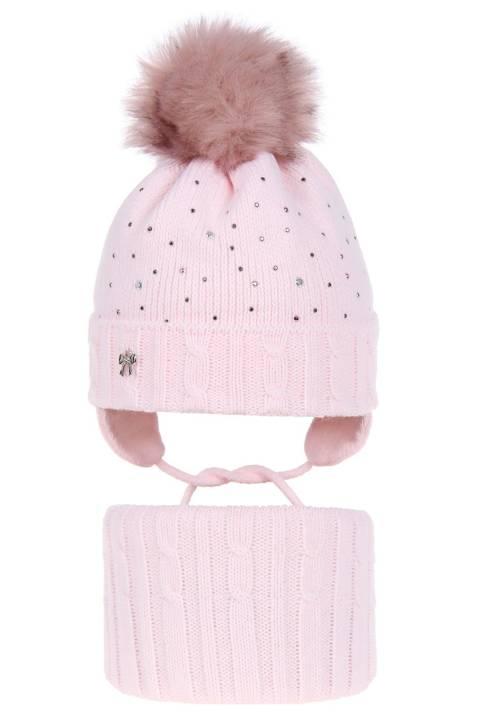 Set doua piese roz, caciula-fular, pentru fete 44-46 cm