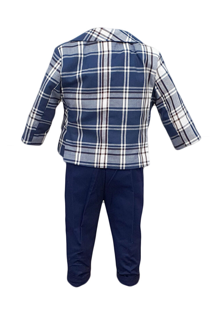 Costum botez, model Baby Boss, carouri albastre-bleumarin