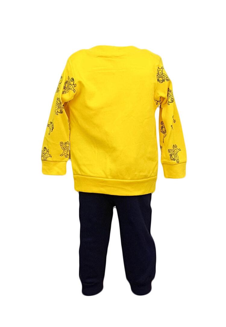 Compleu copii trei piese, culoare galben-bleumarin
