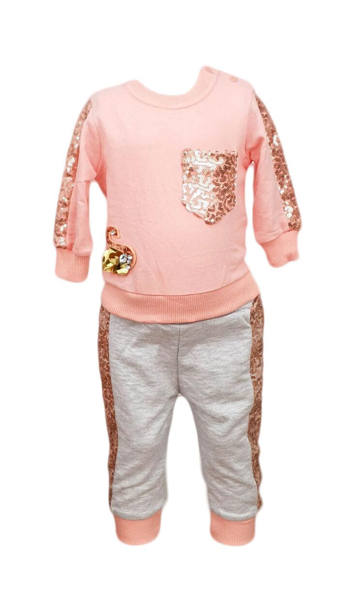 Compleu fetite, doua piese, culoare roz-gri