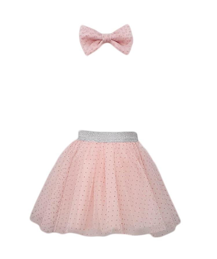 Fusta TU-TU+bentita, culoare roz cu buline