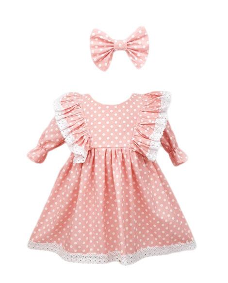 Rochie fetite casual, 2 piese, culoare roz