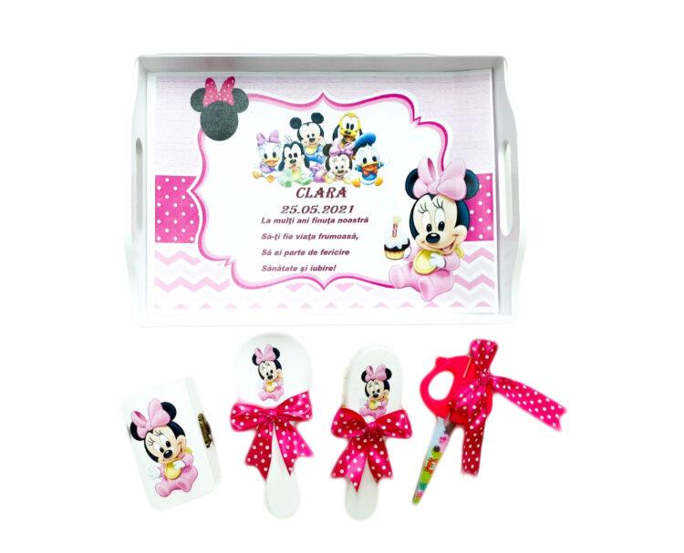 Set taiere mot personalizat, cinci piese, Minnie Mouse