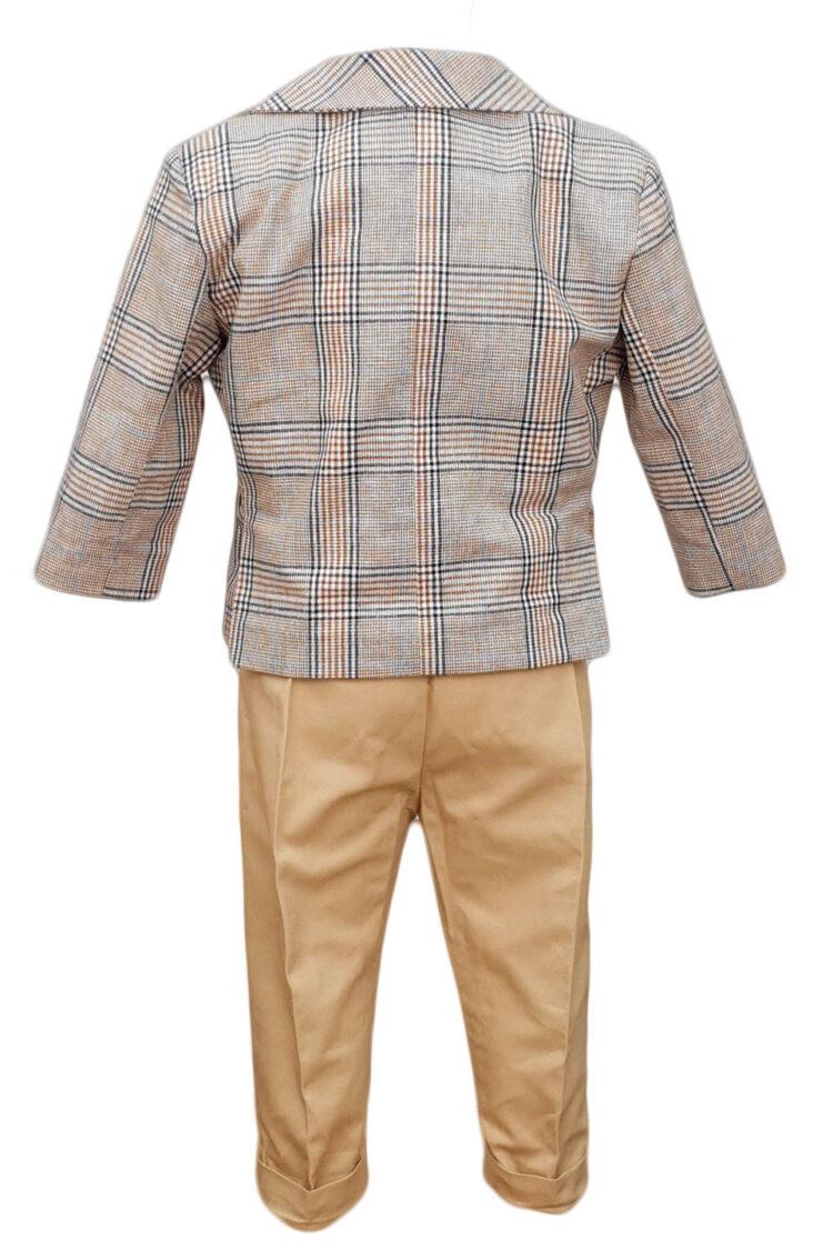 Costum botez, model Baby Boss, in carouri crem-bleumarin