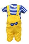 Compleu salopeta si tricou, culoare galbena, pentru bebe