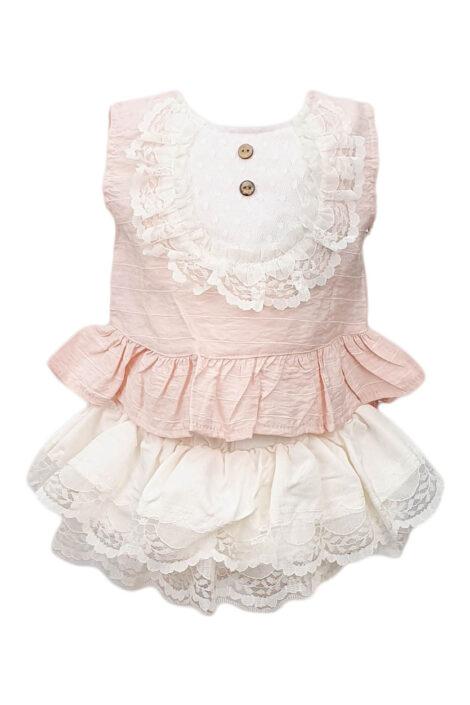 Compleu bebe, 2 piese, culoare roz-alb