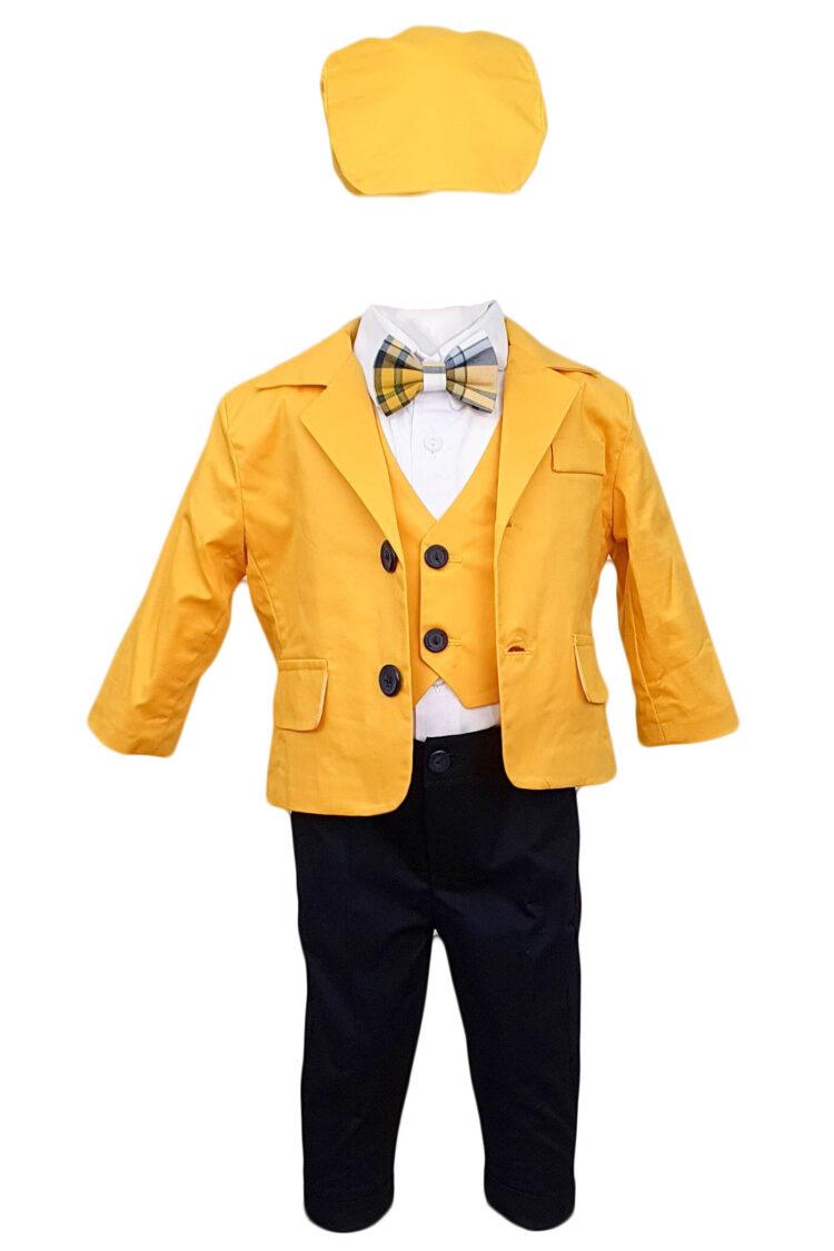 Costum botez, model Baby Boss, galben-negru