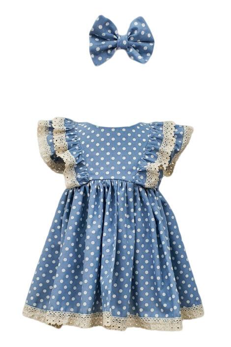 Rochita fete casual cu maneca scurta, 2 piese, culoare albastra