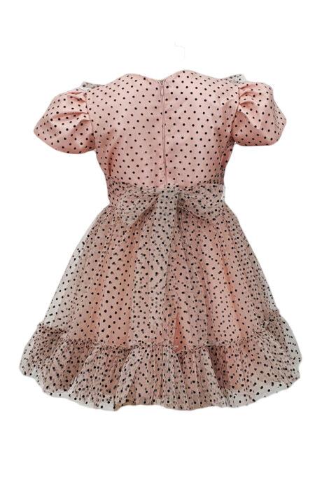 Rochie casual-eleganta fetite, culoare roz-negru