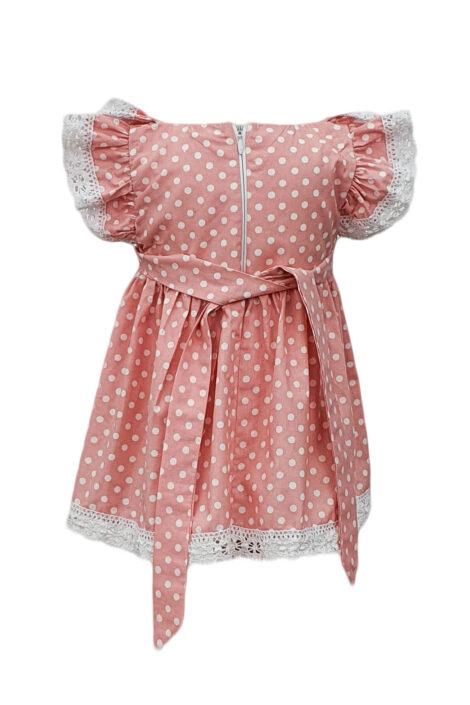 Rochie botez cu maneca scurta, 2 piese, culoare roz