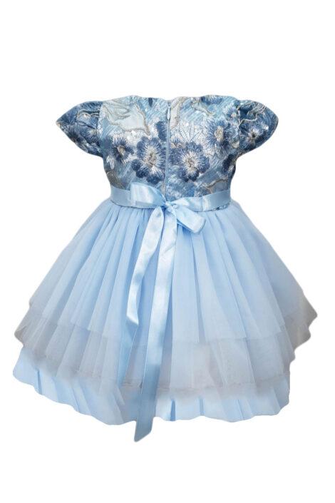 Rochie botez, 3 piese, culoare albastra
