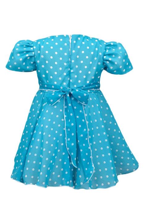 Rochie fetite casual cu maneca scurta, culoare albastra