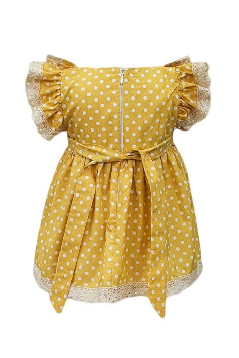 Rochita casual fete cu maneci scurte, 2 piese, culoare galbena