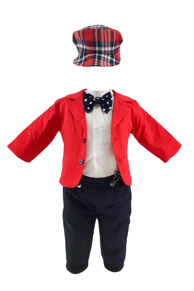 Costum botez, 6 piese, culoare rosie