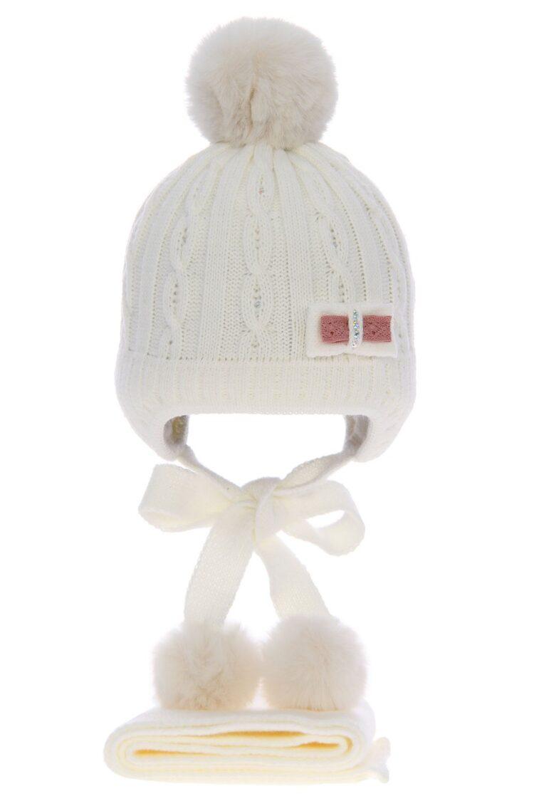 Set iarna 2 piese fetite caciula-fular alb, 38-40 cm