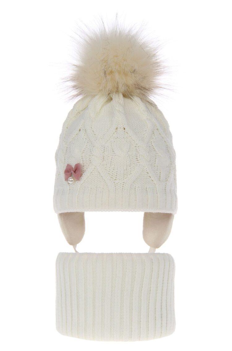 Set iarna fete caciula-fular alba 48-50 cm