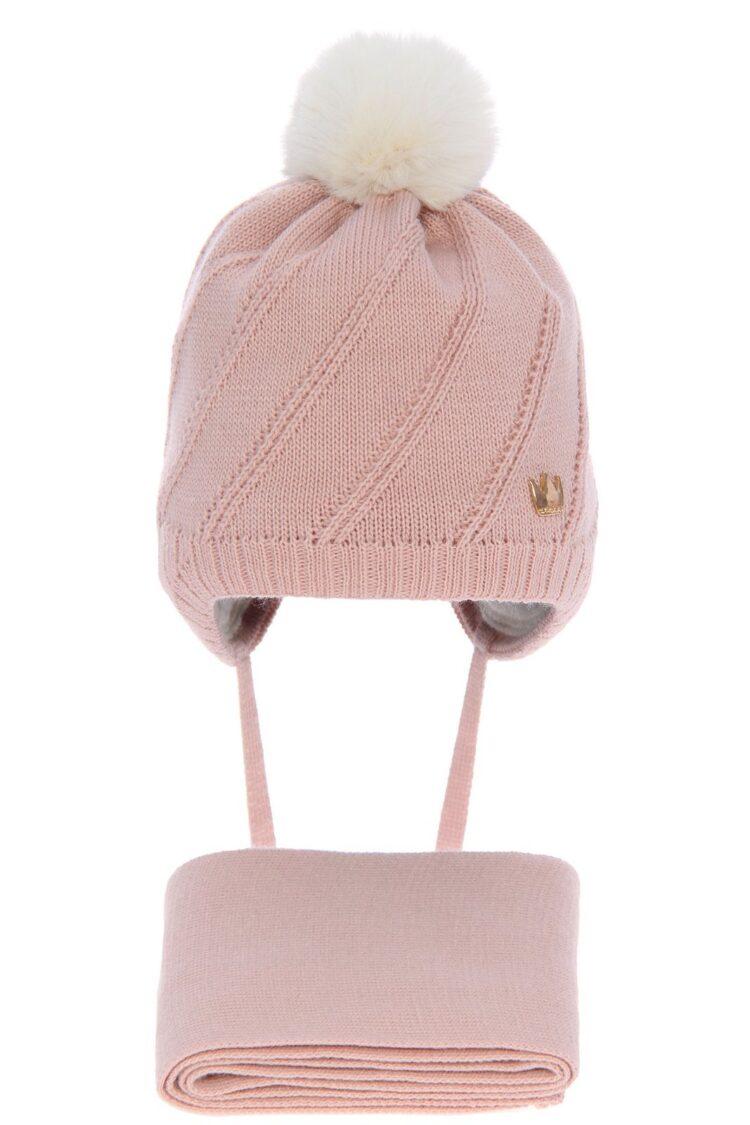 Set iarna fete caciula-fular roz 36-38 cm