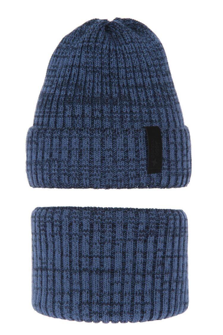 Set iarna caciula-fular baieti, albastre, 52-54 cm